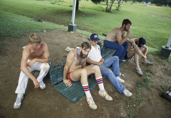 Tired Skate crew after softball game by Marty Davis